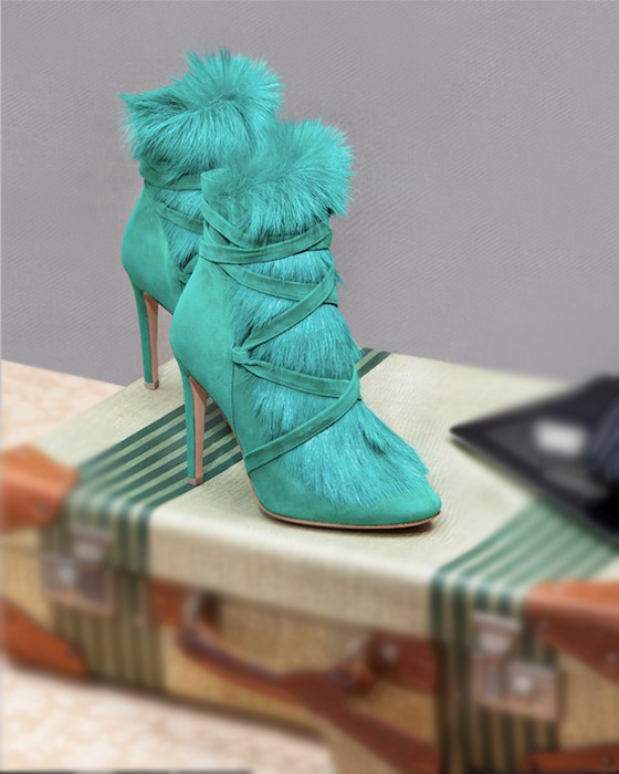 Winter Hot Green Faux Fur Women Fashion Ankle Boots Suede Leatehr Straps Ladies High Heel Boots 2018 Sexy Stiletto Boots Size 42 абажур eglo vintage 49431