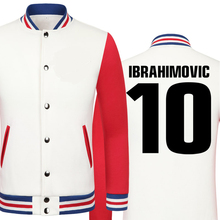 2016 World Cup Zlatan Ibrahimovic thick velvet baseball uniform males's Jackets school jacket boys huge measurement males clothes