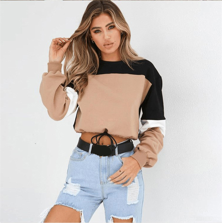 poleron mujer autumn fall women casual cropped tumblr Top Sexy hoodie pullover top female sweatshirt polerones shirt patchwork