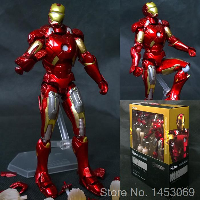 The Avengers Iron Man Mark VII MK42 Figma 217 PVC Action Figure Collectible Model Toy 14cm KT1627 saintgi ow tracer widowmaker reaper winston soldier 76 action figure model kids toys gifts collection tracer pvc 25cm game genji