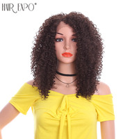 12inch Kinky Curly Lace Front Synthetic Wigs Natural Hairline Heat Resistant Synthetic Hair Wigs For Women Hair Expo City