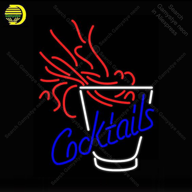 NEON SIGN For Cocktails Fire REAL GLASS BEER BAR PUB Store display Restaurant indoor Light Signs Handcrafted Night Art Lamps