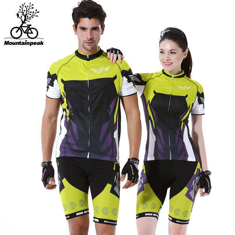 Mountainpeak Green Jersey Short Clothes Running Outdoor Riding Bicycle Shorts GEL Breathable Pad Short Sleeve Cycling Suit Set