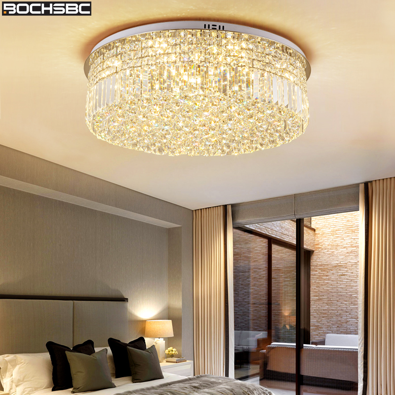 BOCHSBC K9 Crystal Modern Ceiling Chandeliers Lights Fixture for Bedroom Living Room Dining Room Round LED Art Lampara Light