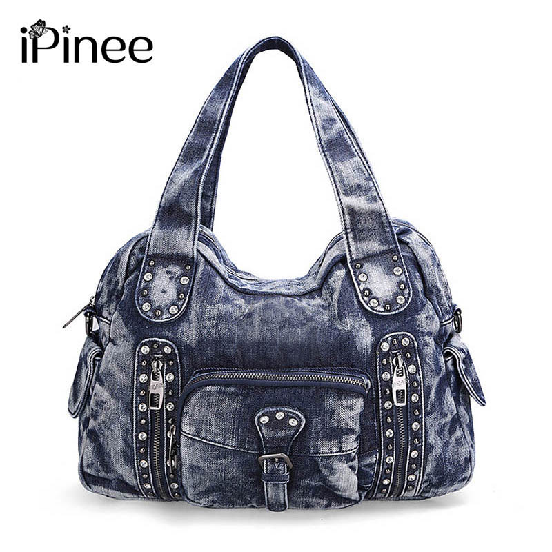 Famous brand denim women large shoulder bag female pocket hobos bag with rhinestone women handbag