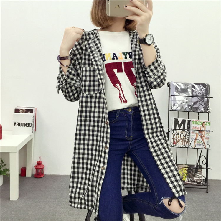 Brand Yan Qing Huan 2018 Spring Long Paragraph Large Size Plaid Shirt Fashion New Women's Casual Loose Long-sleeved Blouse Shirt 20