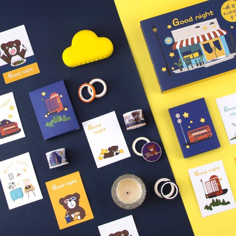 Good Night Theme Gift Box Pack Washi Tape Set Cute Cartoon Masking Tapes+Mini Cards Free Shipping