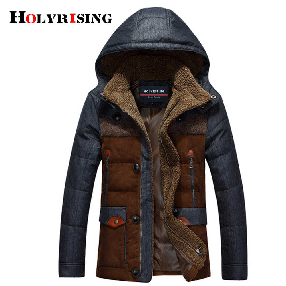 Holyrising jaqueta masculina thick male down jacket Men fashion hooded down coat patchwork denim parka man wholesale
