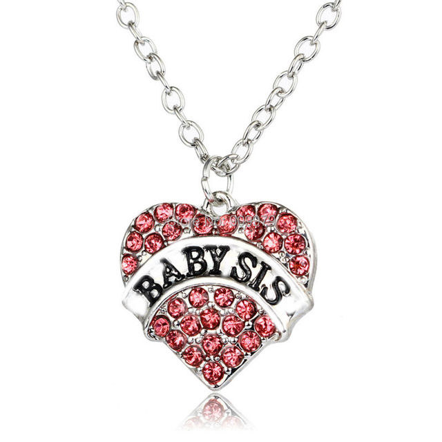 Pink crystal heart girls baby sis sister pendant necklace silver pink crystal heart girls baby sis sister pendant necklace silver plated rhinestone charm family party gift mozeypictures Image collections