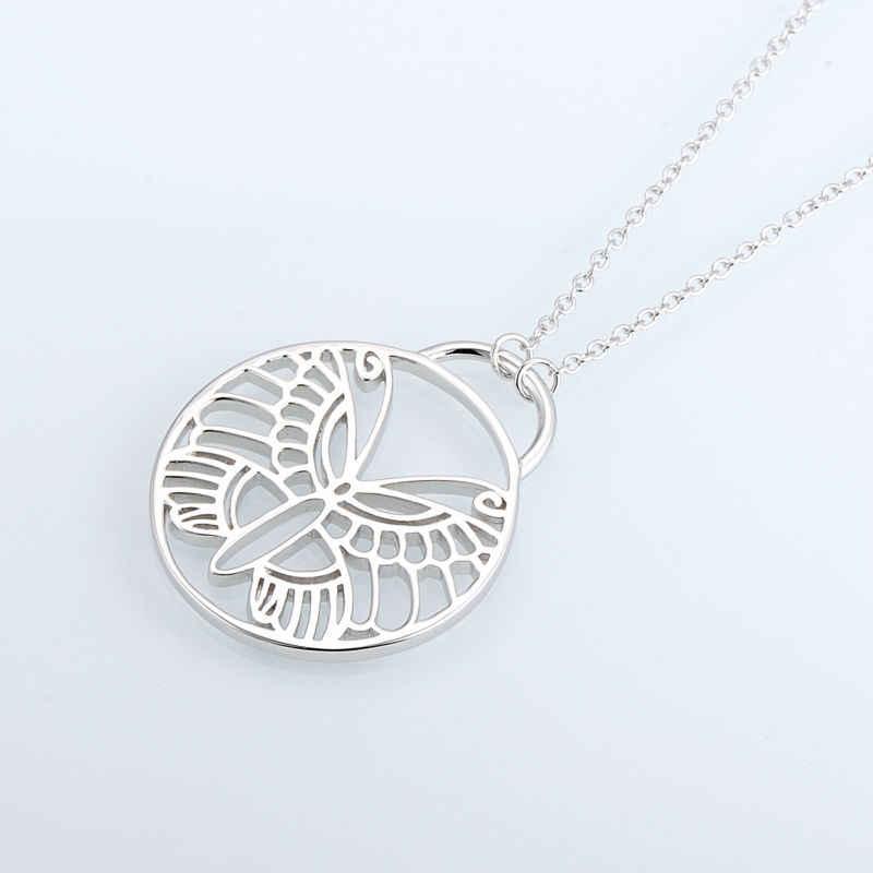 SANTUZZA, латунное ожерелье для женщин, Круглый Круг, Бабочка, подвеска, ожерелье, обручальное кольцо, вечерние ювелирные изделия