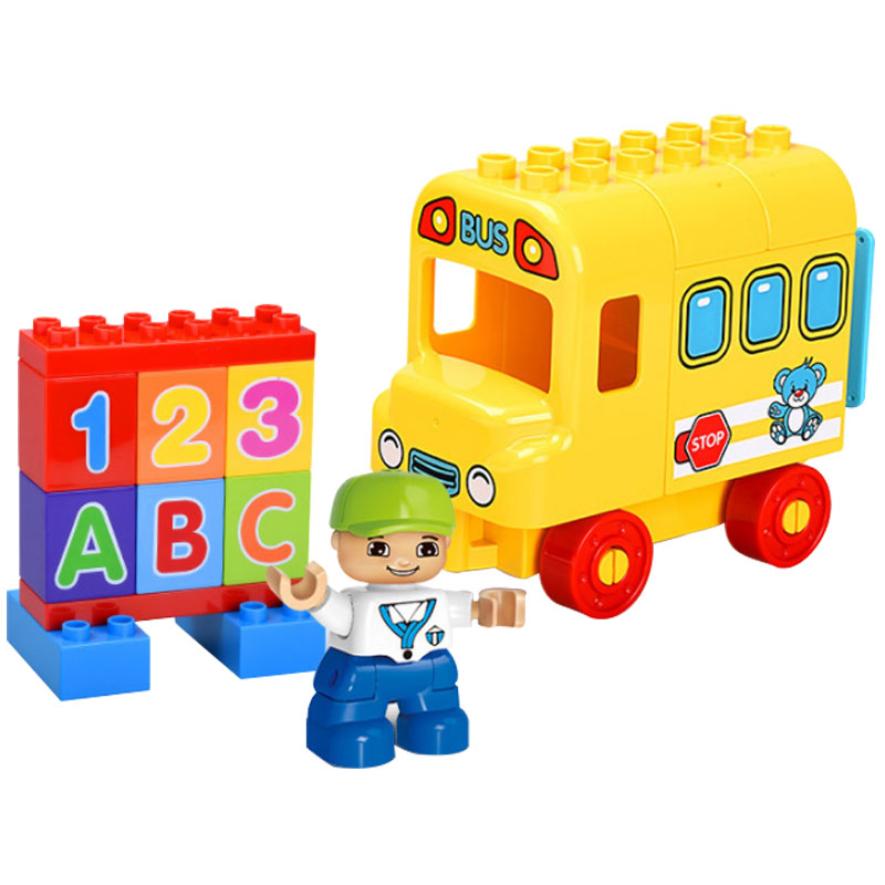 Legoing Duplo Bus Building Blocks Educational Toys For