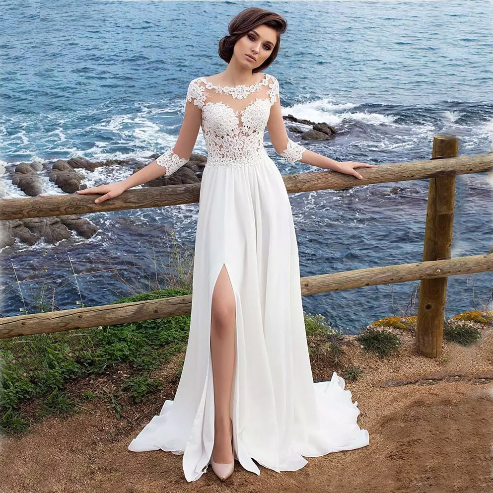 Bohemian Chiffon Wedding Dresses Cheap Sheer Crew Neck Lace Appliques High Spplit Hollow Back Boho Beach Long Bridal Gowns