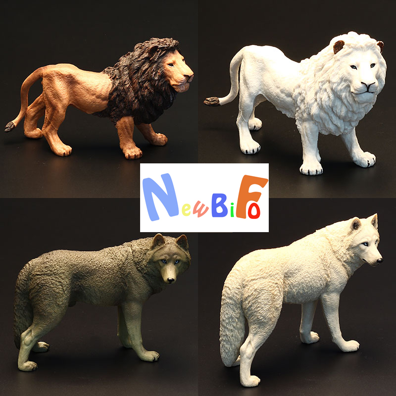Gift Figurine Animal-Model Wolf Jaguar Black Children Kids Toys Lion Wild Steppe Male