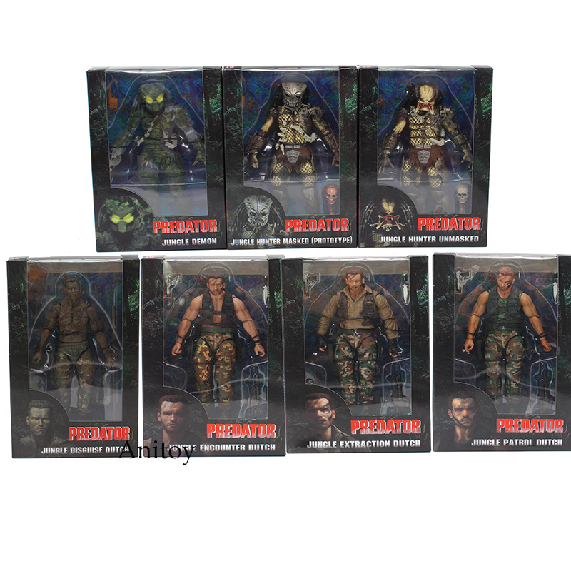 NECA PREDATOR 30th Anniversary Jungle Patrol Encounter Extraction Disguise Dutch Jungle Hunter Unmasked Demon Action Figure