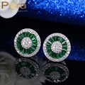 Elegant Design Simulated Emerald Cubic Zirconia Silver Plated Women Party Big Round Green Crystal Stud Earrings For Gift E207