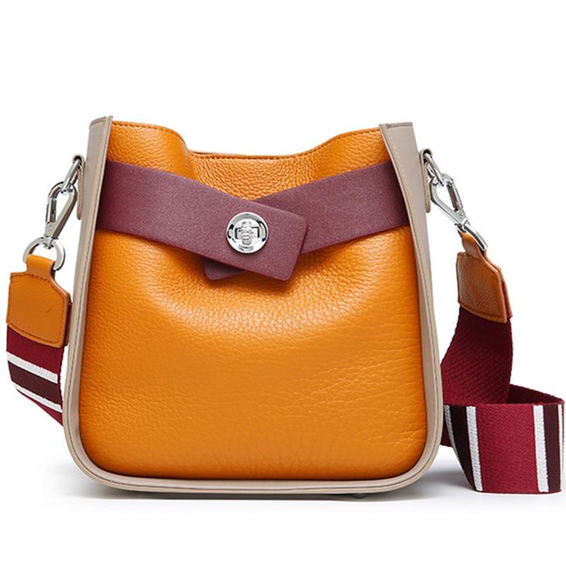 fashion Patchwork Messenger Bag cow leather shoulder bag new 2018 women brand Multicolor shoulder strap bolsa feminina