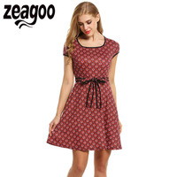 Zeagoo Vintage StyleDress Women Cap Sleeve Floral Print Pleated Mini Dress Summer Cute Square Collar High
