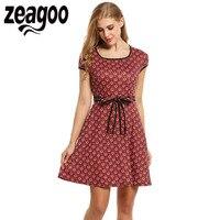 Zeagoo Vintage StyleDress Women Cap Sleeve Floral Print Pleated Mini Dress Summer Cute Square Collar High