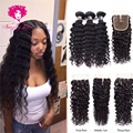 Peruvian Virgin Hair With Closure,Deep Wave Ali Julia Hair with Closure,Peruvian Deep Wave Rosa Beauty Hair Bundles with Closure