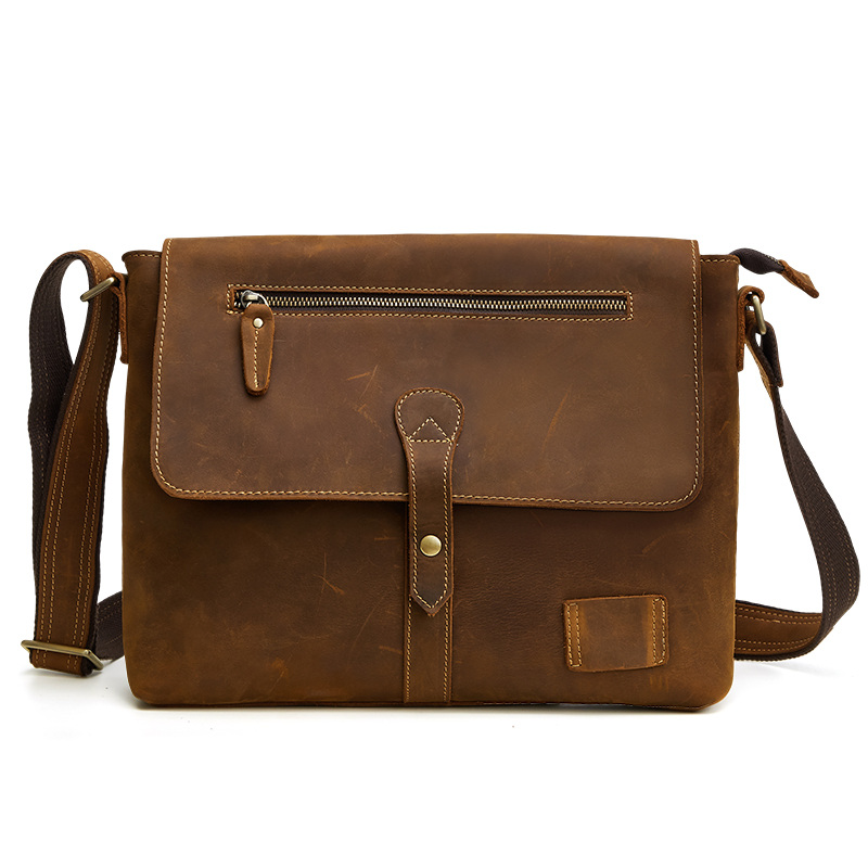 Nesitu High Quality Vintage Brown Thick Durable Real Skin Genuine Crazy Horse Leather Men Messenger Bags Shoulder Bag M6352Nesitu High Quality Vintage Brown Thick Durable Real Skin Genuine Crazy Horse Leather Men Messenger Bags Shoulder Bag M6352