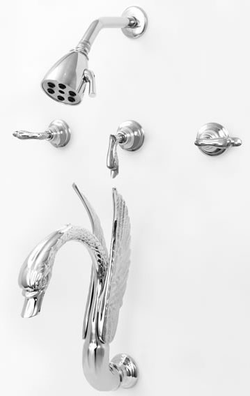 Бесплатная доставка хромированная отделка 5 шт. лебедь ванной смеситель для душа с душем полный 3 Ручка Ванна и deluxe набор для душа