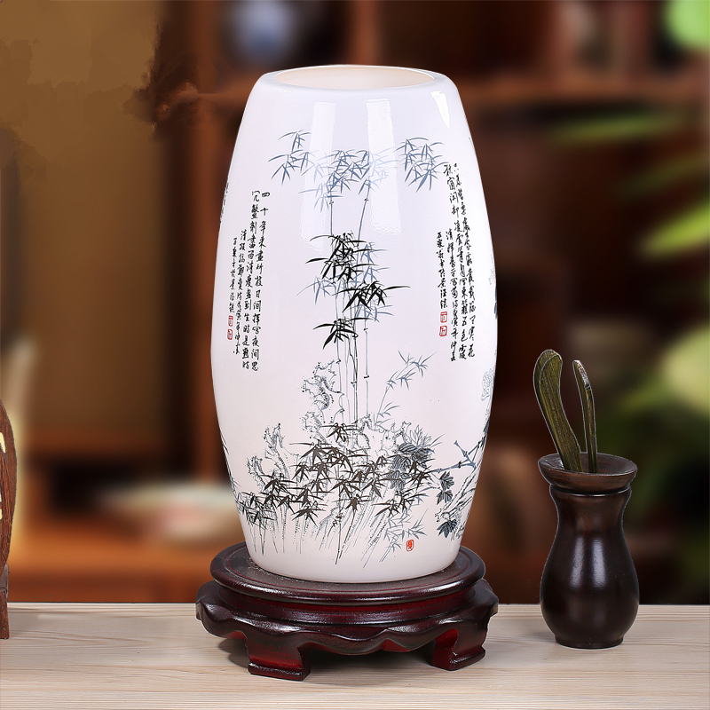 New Chinese Style Retro Table Lamp Bedroom Bedside Lamp Living Room Study Decorative LED Ceramic