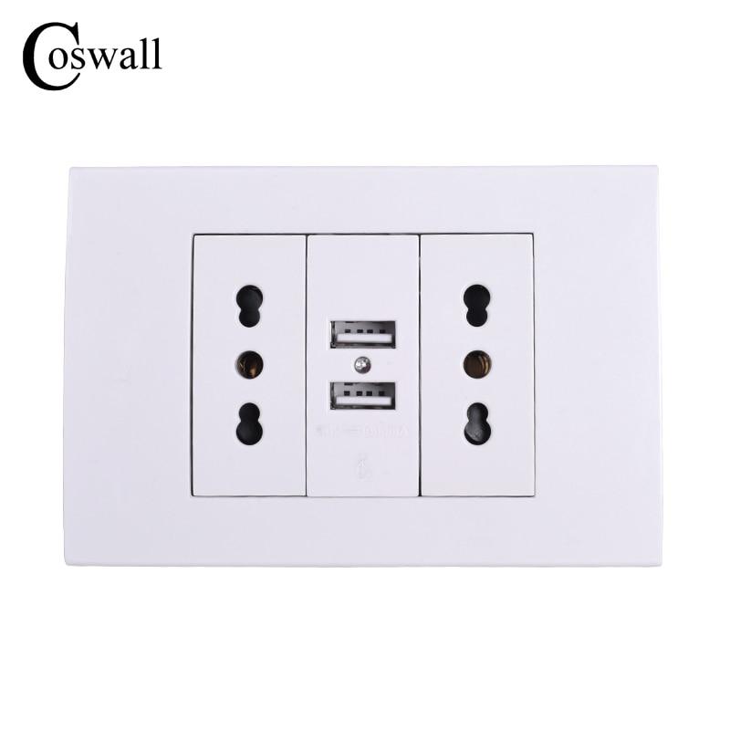 Coswall стены Мощность розетку, двойной Итальянский/Чили электрической розетке с 1000mA Dual <font><b>USB</b></font> Зарядное устройство Порты и разъёмы для мобильного &#8230;