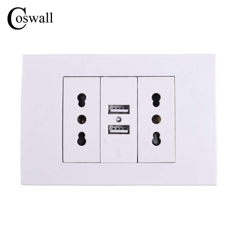 Coswall Wall Power Socket Plug, Double Italian / Chile Electrical Outlet With 1000mA Dual USB Charger Port for Mobile 118mm*80mm
