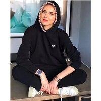 2018 Fall New Fashion Women Black Hoodies Chiara Ferragni Big Eyes Embroidery Emoji Pearl Loose Style Casual Hoodies Sweatshirts