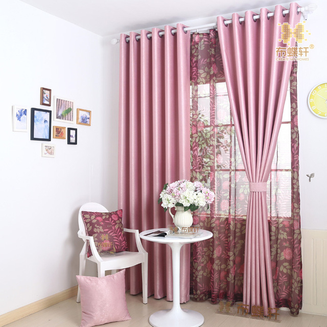 100% Ployester Mediterranean Style Five Colors Solid Drape Curtain ...