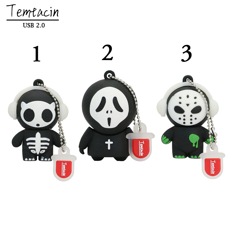 100% Real Capacity Horrific Ghost USB Flash Drive Pen Drive Cartoon U Disk Memory Stick PenDrive 8GB 16GB 32GB Halloween Gifts