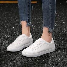 18ca83a34 Sneakers Mulheres Sapatos Tenis Feminino Sapatos Mulher Ocasional de Couro  Liso da Placa Branca Sólida Feminino