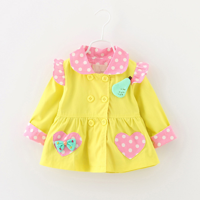 2016 spring Autumn Baby Girls Trench Coat bow pocket jackets kids coats outfit 0-3years Children's clothing brand free shipping