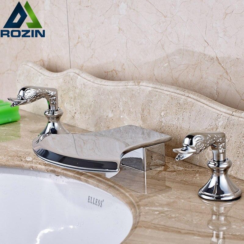 Comprar Forma AX cascada grifo de lavabo doble manija cromada baño mezcla cubierta de montaje caliente y fría de tap for water tank fiable proveedores en rozin Official Store