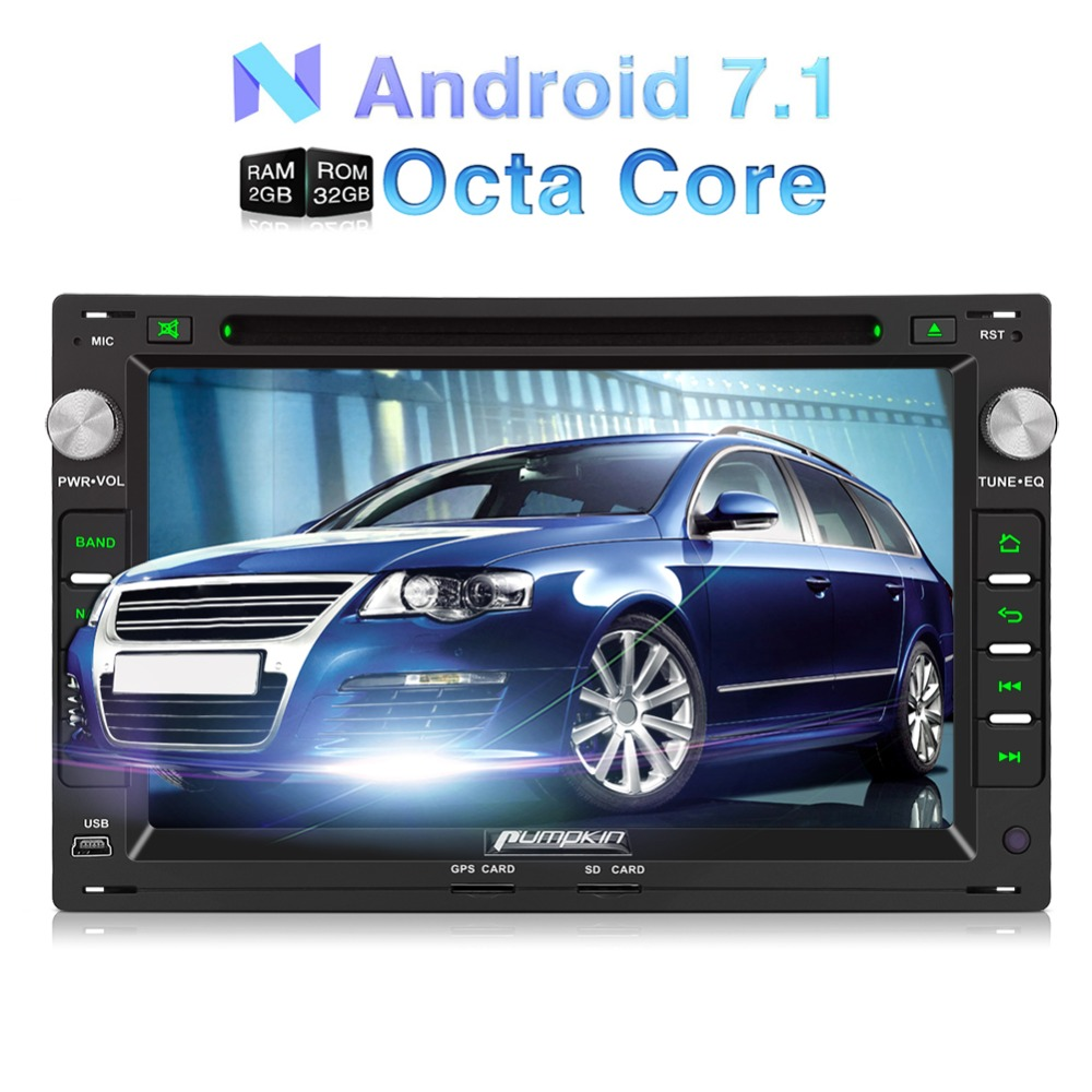 Pumpkin 2 Din 7''Car Radio Android 7.1 Car DVD Player GPS Navigation Qcta-core Car Stereo For VW/Golf/Passat Wifi FM Rds Radio цена