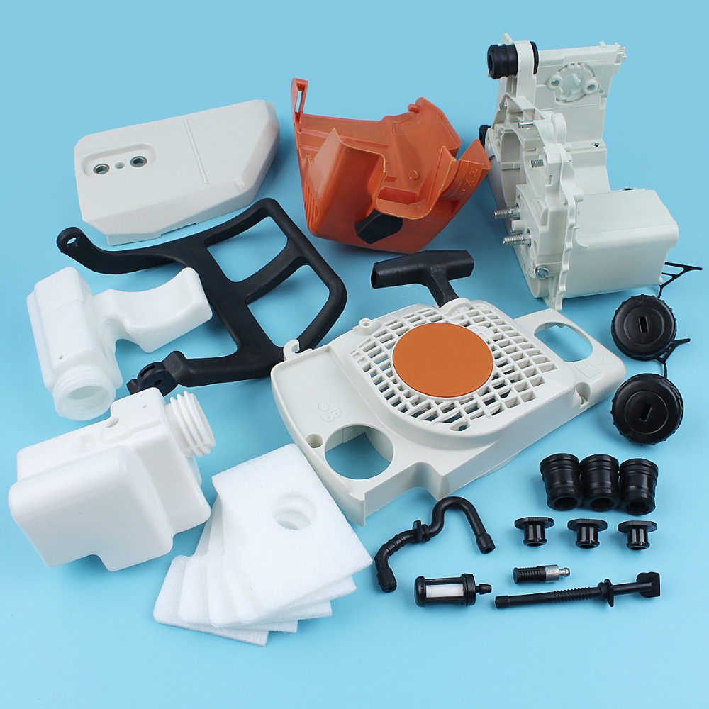 Crankcase Top Engine Cover Recoil Starter Handle Guard Kit For Stihl 017 018 MS170 MS180 Chainsaw Oil Fuel Tank Cap Filter Line top quality pull recoil starter coil spring for ms170 small gasoline 02 stroke chainsaw wood spliter log cutting machine