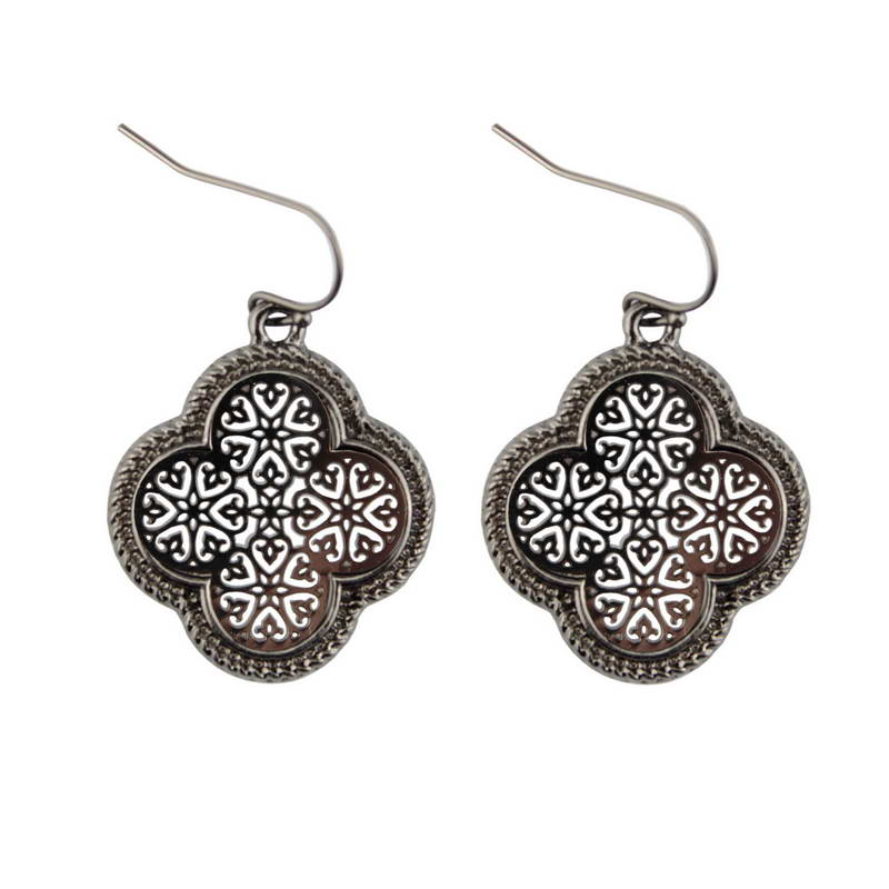 Wholesale Zinc Alloy Cutout Clover Earrings For Women