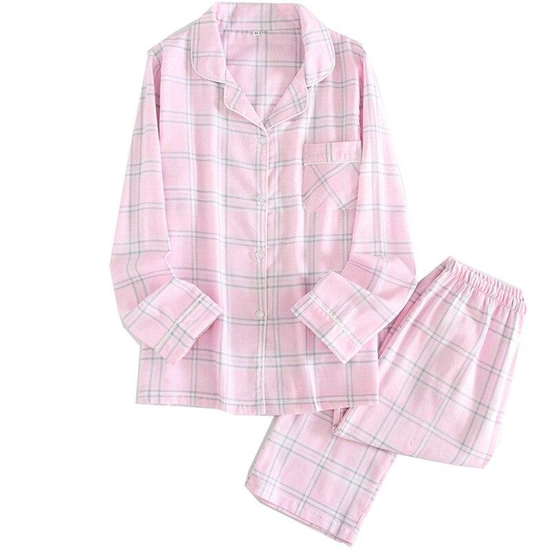Cotton Pajamas Women Long Sleeve Pajamas Household To Take Plus Size Pijama Mujer Plaid Pajama Set Womens 2 Piece Sleepwear