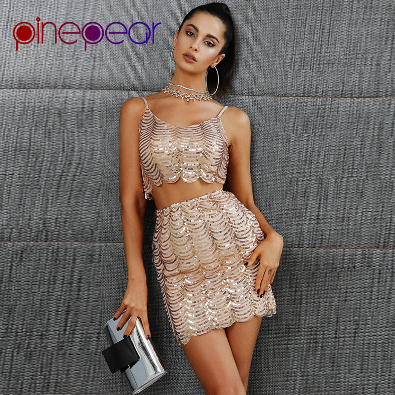 1b4d0a7e PinePear Gold Sequin Wave Tassel Dress 2019 NEW Arrival Women 2 Pieces Set Crop  Top and Skirt Sexy Nightclub Dress Drop Shipping