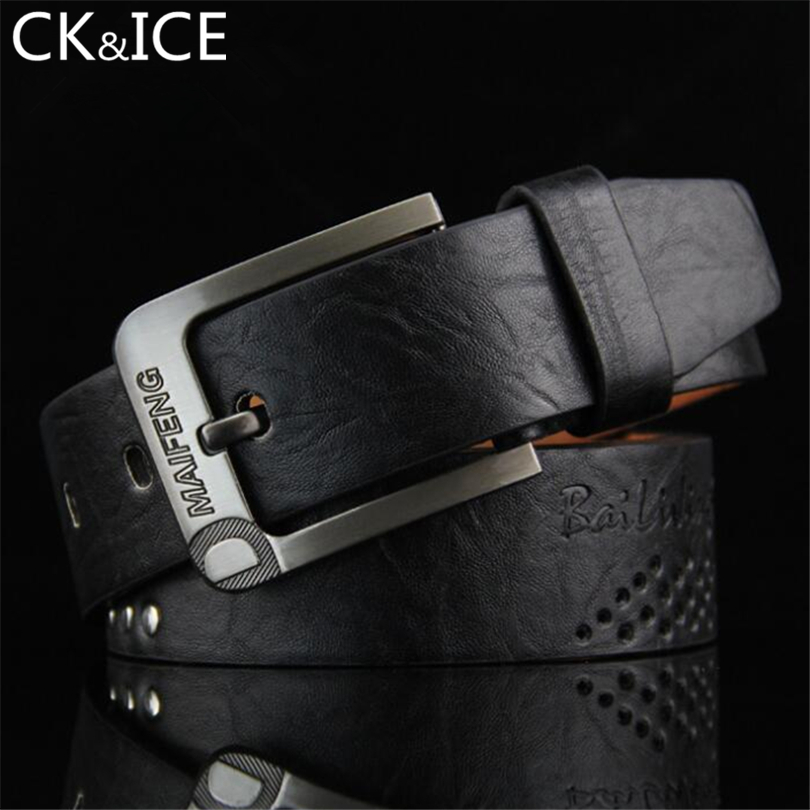 CK&ICE High Quality Cowskin PU Leather Mens Belts Famous Brand Luxury Male Leather Belt Man Fashion Designer Belts For Men