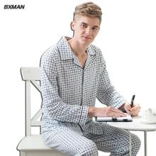 BXMAN Бренд мужской Классический Англия Стиль Pijamas Hombre Хлопок Плед отложным Воротником Полный Рукавом Пижамы Набор модальные 52