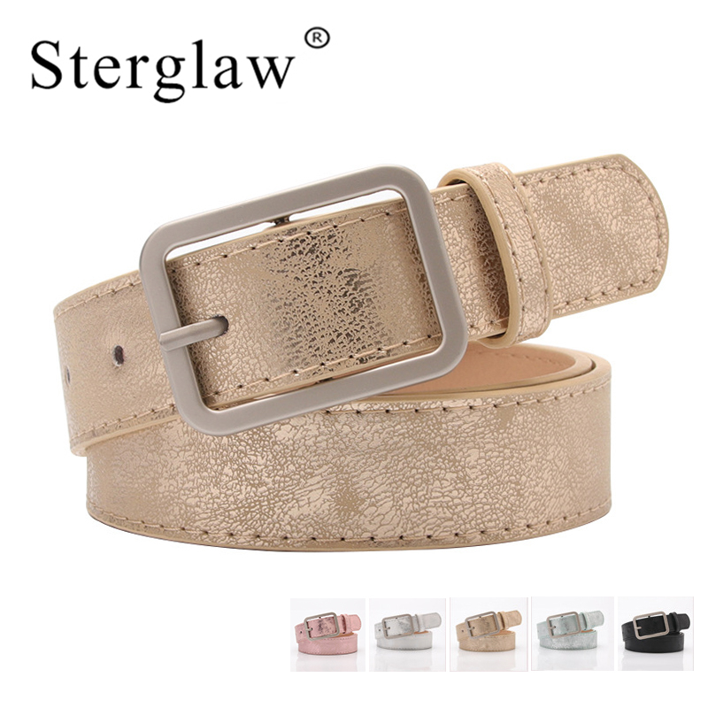 105x2.8cm New ladies gold shiny black wide waist   belt   for women jeans fashion silver pin buckle   belt   Female cinturon mujer A101