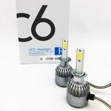 Бесплатная доставка, дешевый C6 H3 72 Вт 7600LM авто лампы комплект, светодиодный светильник с
