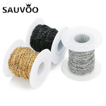 Bulk-Chains Jewelry-Making Stainless-Steel Black SAUVOO Finding Metal Gold for DIY Wide-1