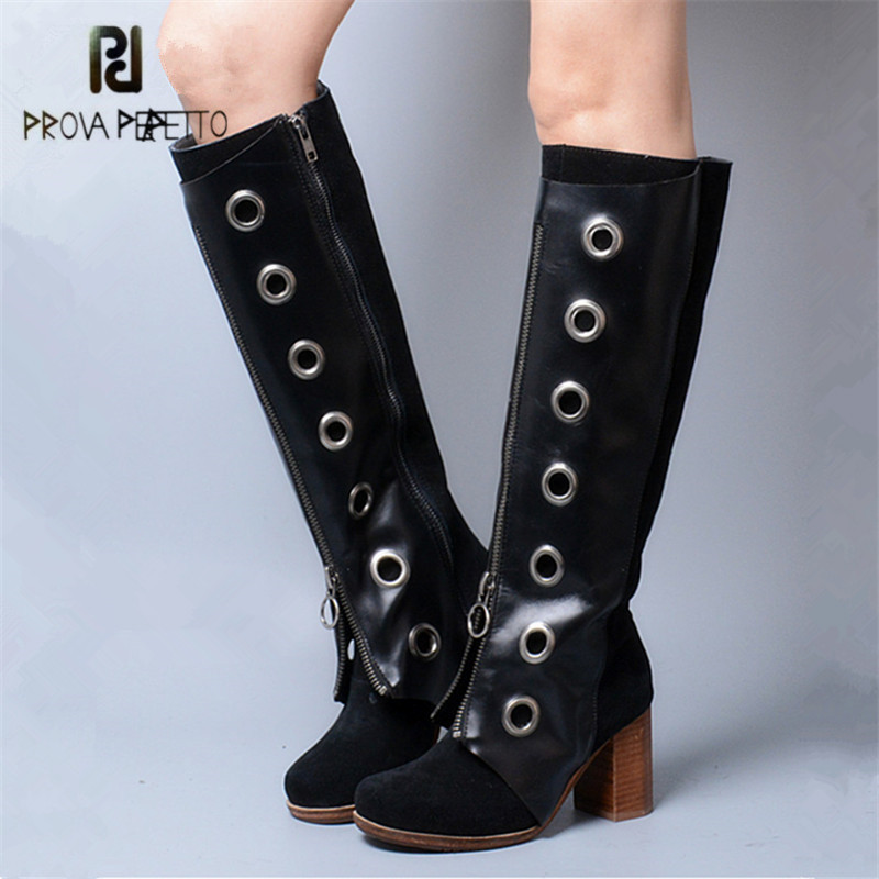Prova Perfetto Black Women Knee High Boots Female Front Zipper High Boots Ladies Platform Chunky High Heel Rubber Botas Mujer prova perfetto women knee high boots red suede female chunky high heel boots straps autumn winter platform rubber botas mujer