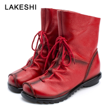 LAKESHI 2019 Vintage Style Genuine Leather Women Boots Flat Booties Cowhide Wome