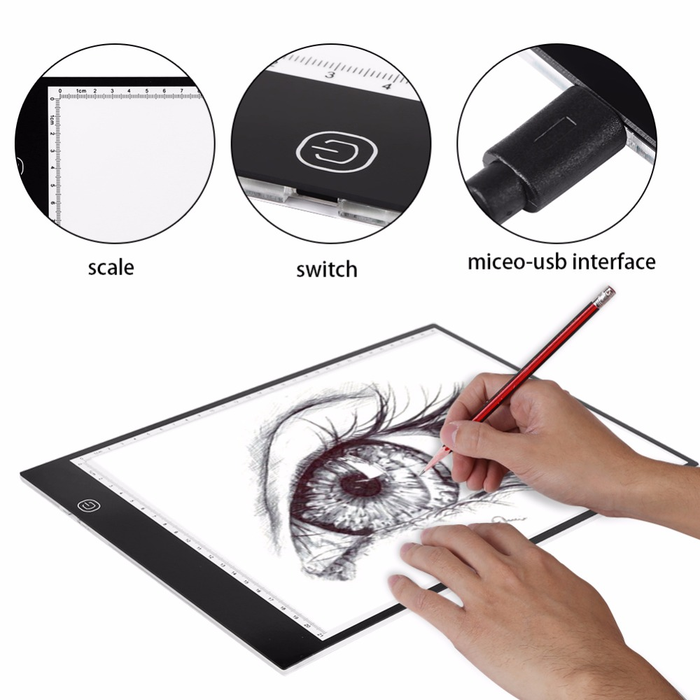 A4 LED Tracing Board Light Box Stencil Drawing Thin Pad Table for Tattoo Art Artist a suit of gorgeous rhinestone faux sapphire necklace bracelet ring and earrings for women