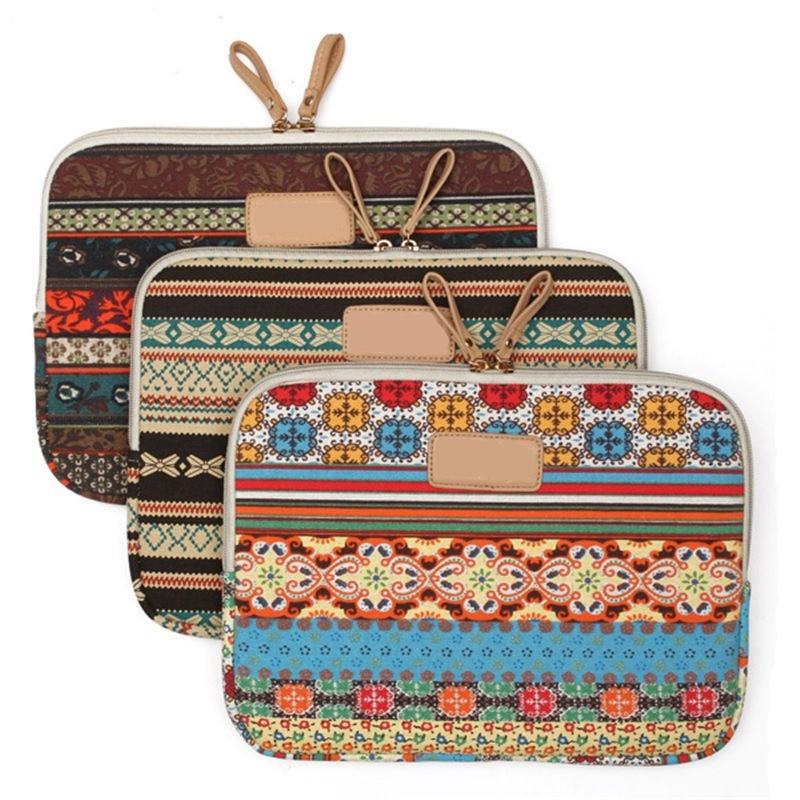 Wholesale Price Bohemians Soft Canvas Laptop PrSleeve Bag Case Pouch For Macbook Air Pro Retina 12 13 15.6 Bag Sleeve