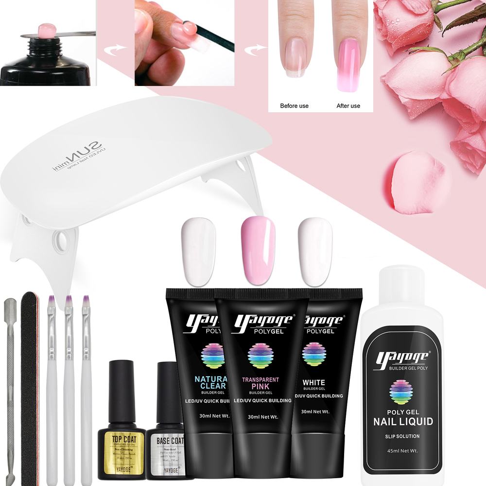 Yayoge Poly Gel Set Quick Building Nail Gel Varnish Polish For Nails Extensions Hard Jelly Strong UV Gel Polygel Kit Yayoge Poly Gel Set Quick Building Nail Gel Varnish Polish For Nails Extensions Hard Jelly Strong UV Gel Polygel Kit