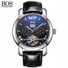 ANGELA BOS Blu-ray Saphir de mode noir de luxe montre automatique squelette hommes de montre en cuir Date En Acier Inoxydable Marque Pour Hommes